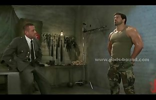 Strong brunette gay soldier punished by boss in bondage..